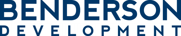 benderson development logo in blue capital letters