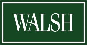walsh square logo in green with white font