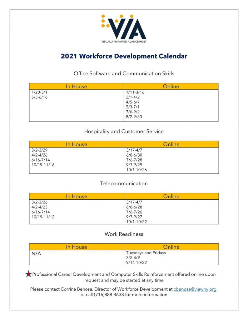 Workforce Development Calendar